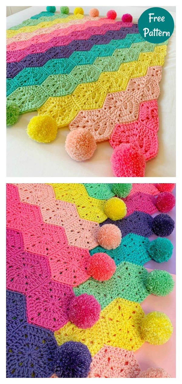 Rainbows Rule Blanket Free Crochet Pattern