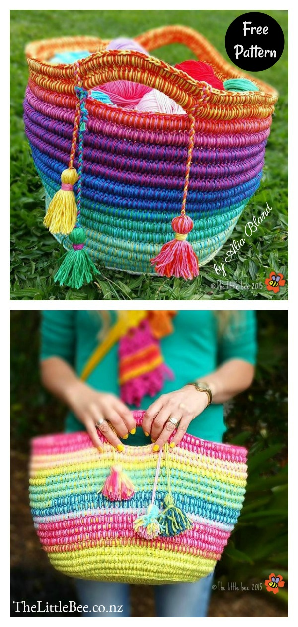 Ropey Coiled Rainbow Basket Free Crochet Pattern