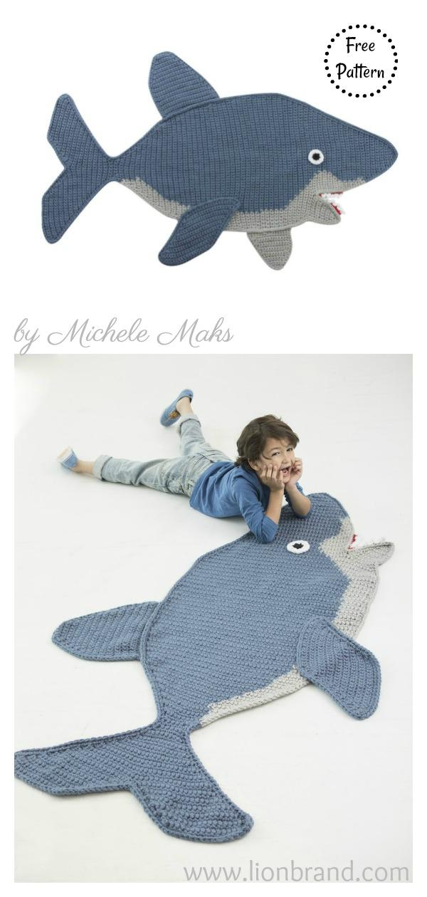 Shark Afghan Blanket Free Crochet Pattern