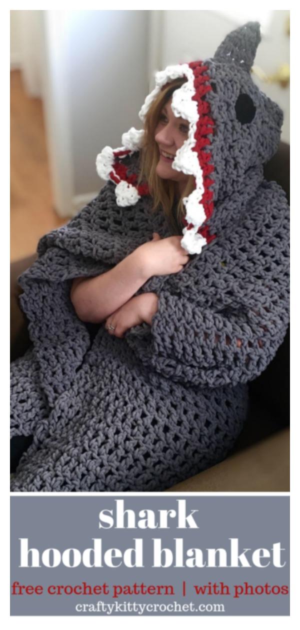 Shark Hooded Blanket Free Crochet Pattern