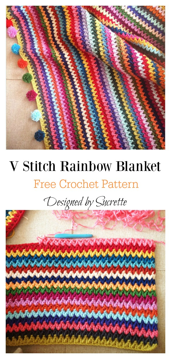 V Stitch Rainbow Blanket Free Crochet Pattern