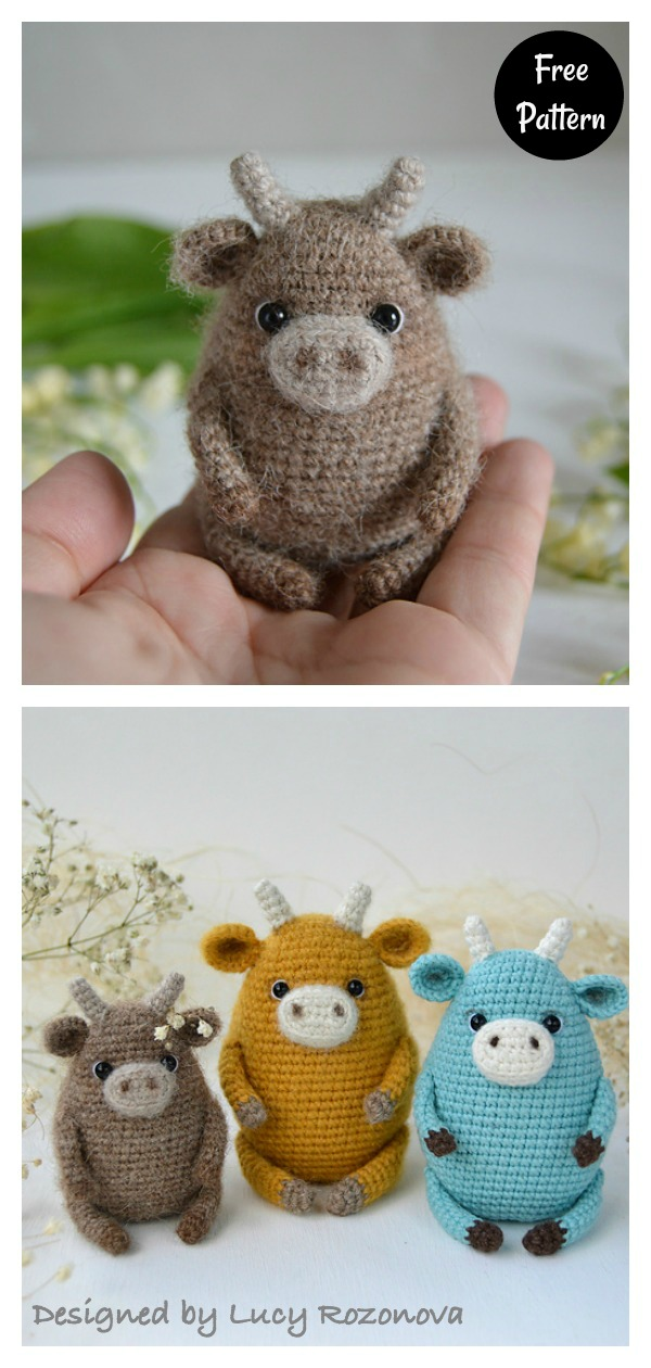diy4ever-6 Super Cute Crocheted Amigurumi Cow Free Patterns (With ... | 1260x600
