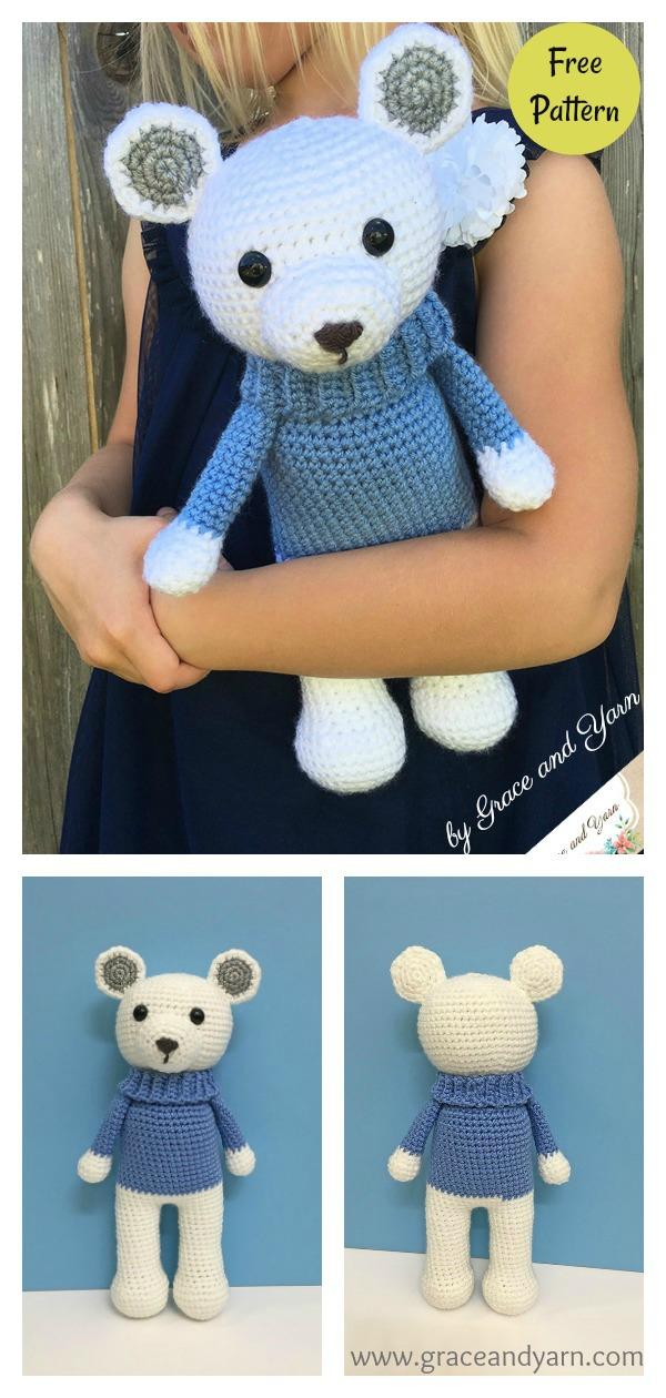 Free Teddy Bear crochet pattern - Amigurumi Today | 1260x600