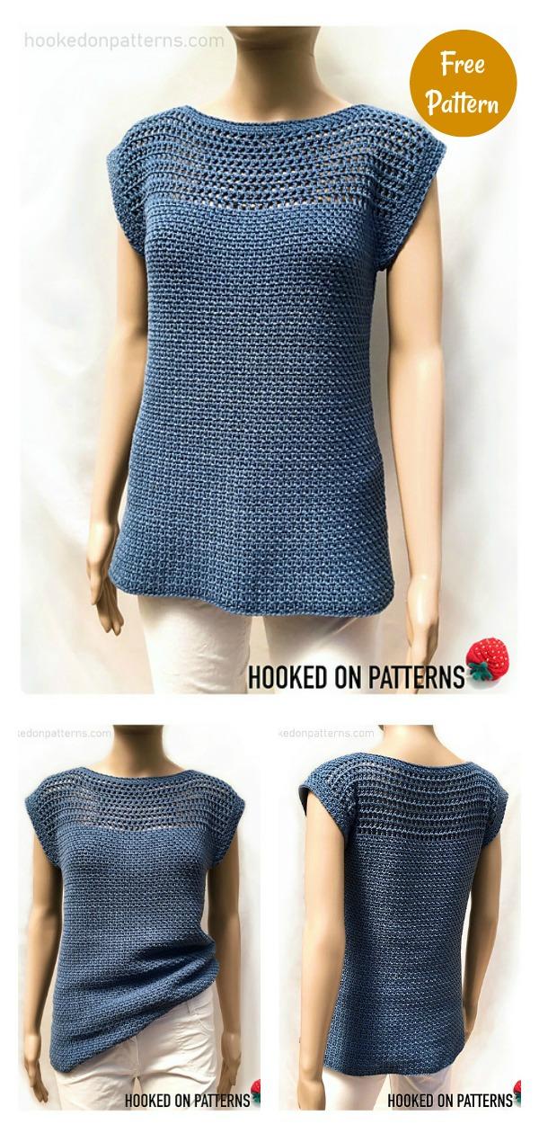 Aviva Mesh Top Tee Free Crochet Pattern