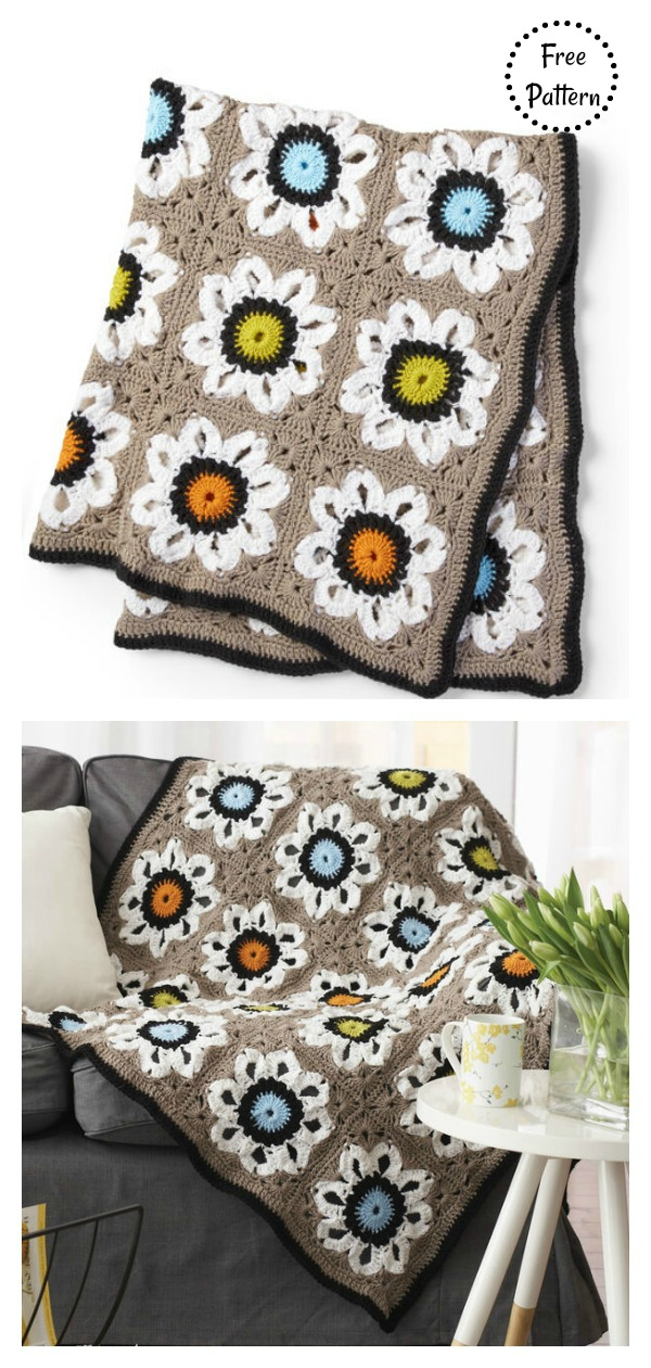 City Solarium Throw Blanket Free Crochet Pattern