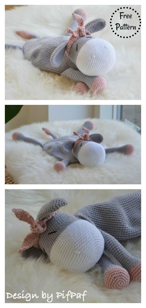 Donkey lovey Security Blanket Free Crochet Pattern