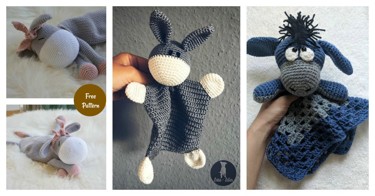 Crochet Donkey Amigurumi Free Pattern | BeesDIY.com | 630x1200