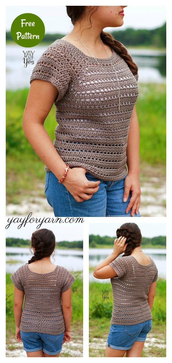 Driftwood Tee Summer Top Free Crochet Pattern