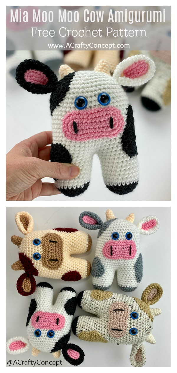 Mini Amigurumi Cow - A Free Crochet Pattern - Grace and Yarn | 1260x600