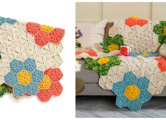 Flower Hexagon Blanket Free Crochet Pattern