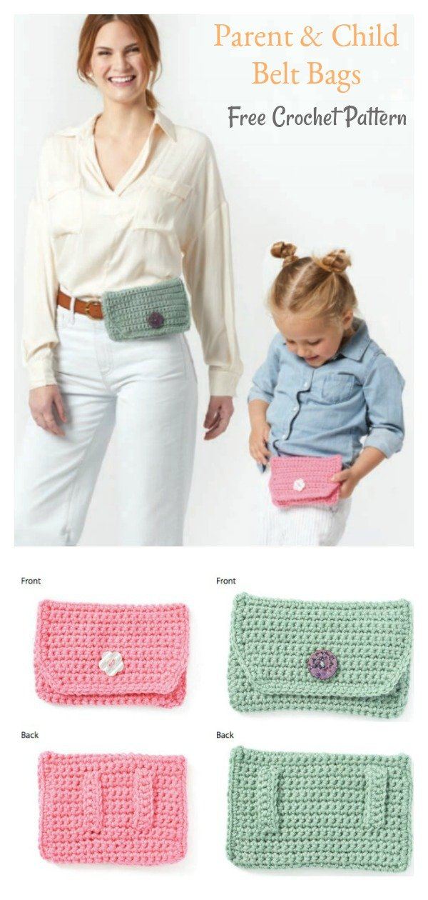 Parent & Child Belt Bags Free Crochet Pattern