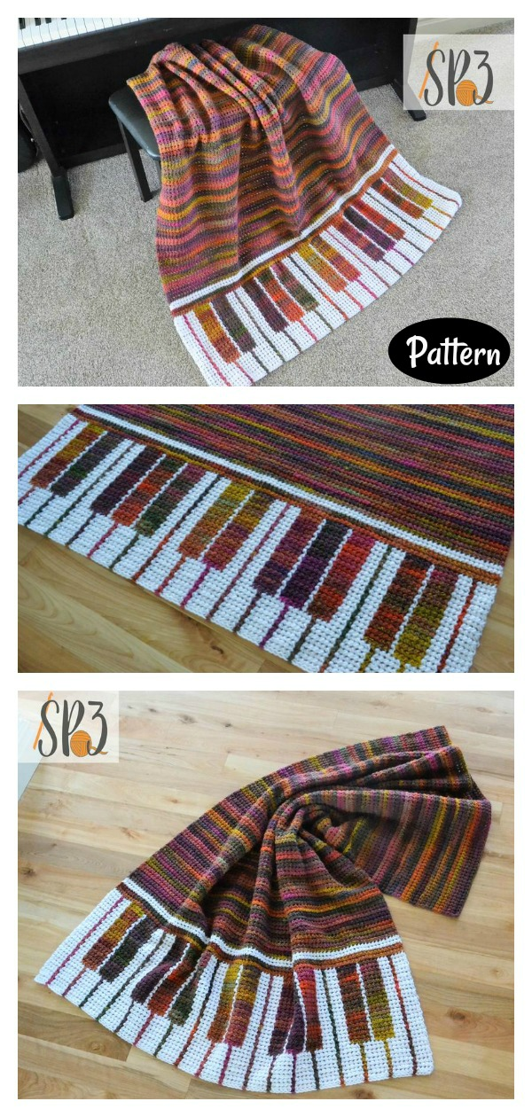 Piano Pizzazz Blanket Crochet Pattern