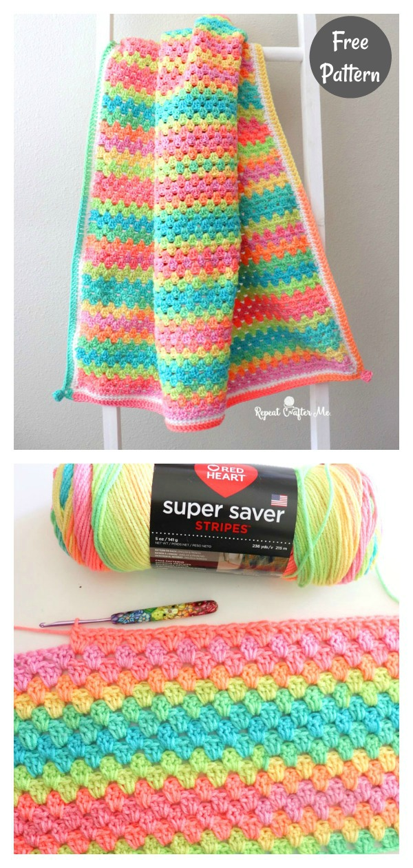 Quick and Easy Granny Stripe Blanket Free Crochet Pattern