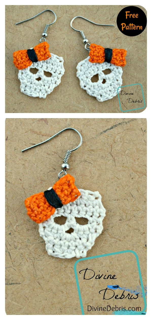 Sally Skulls Earrings Free Crochet Pattern Halloween Accessories