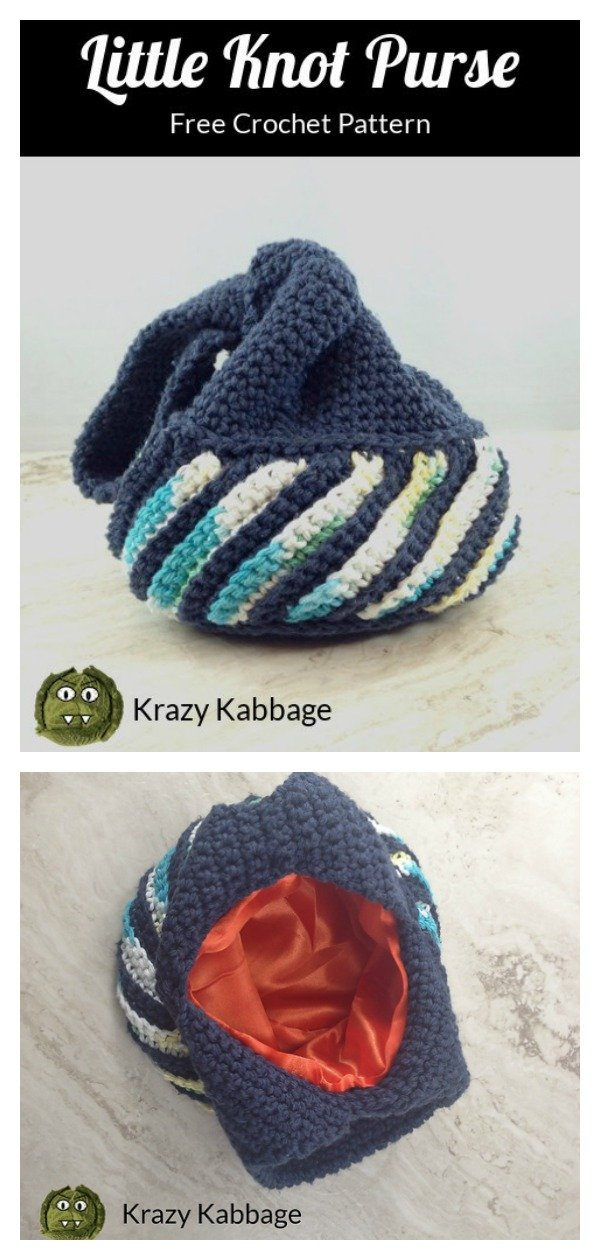 Small Japanese Knot Bag Free Crochet Pattern