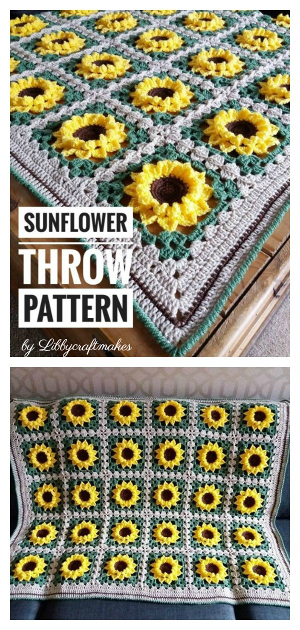 Sunflower Square Blanket Crochet Pattern