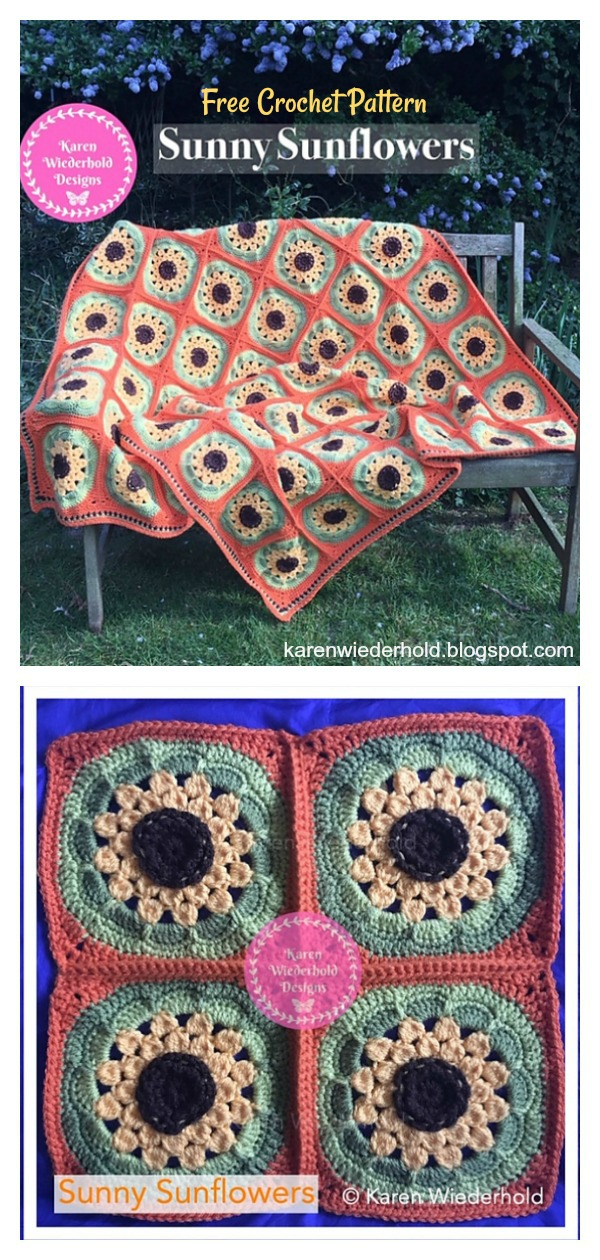 Sunny Sunflowers Blanket Free Crochet Pattern