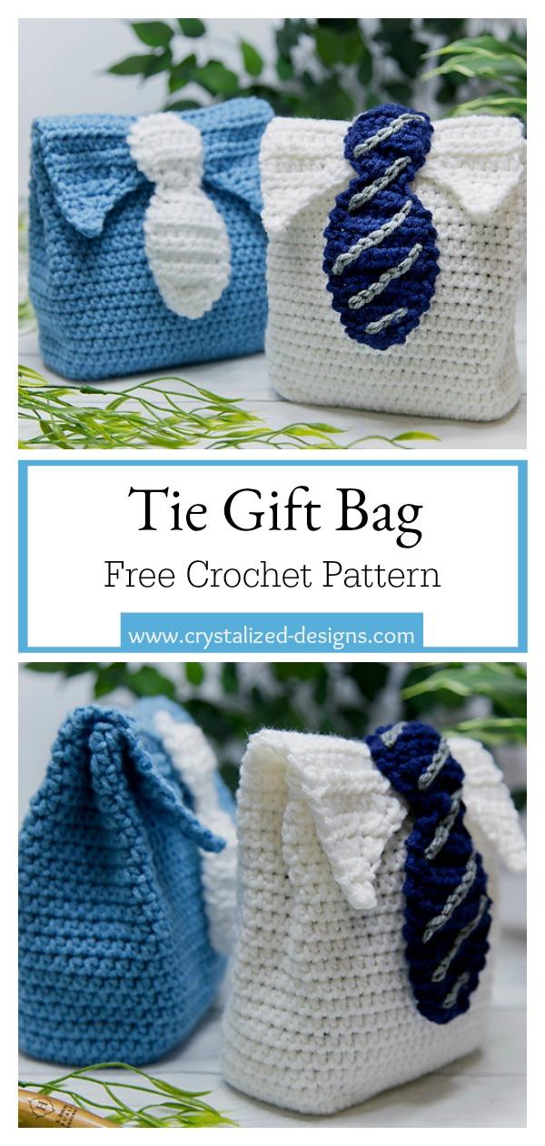 Tie Gift Bag for Men Free Crochet Pattern