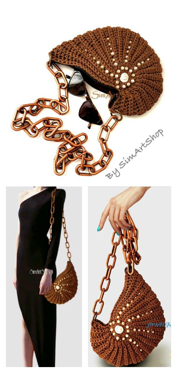 Unique Crochet Nautilus Shell Crossbody Handbag