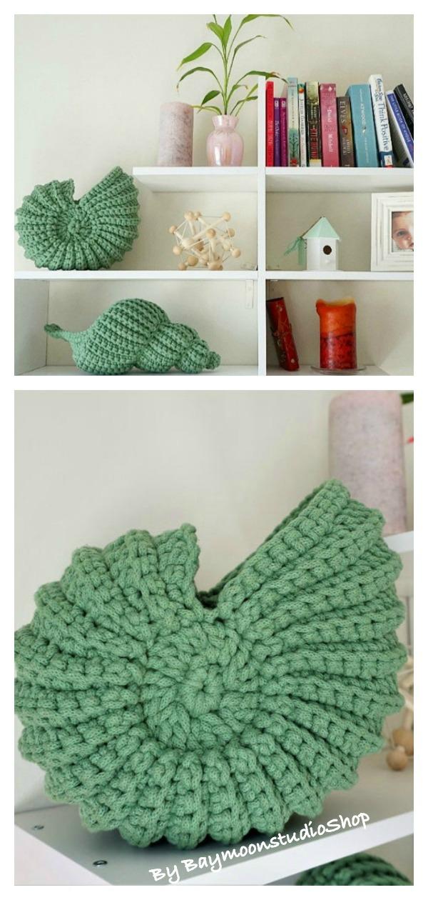 Unique crochet Nautilus Shell Basket