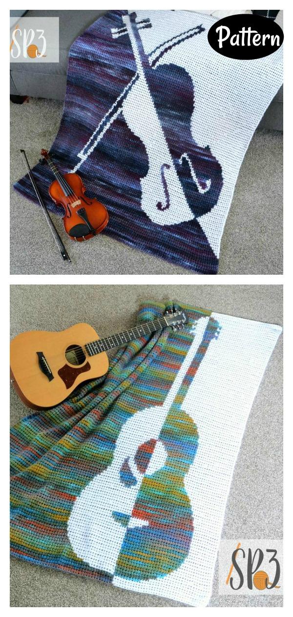 Vibrato Violin Blanket Crochet Pattern