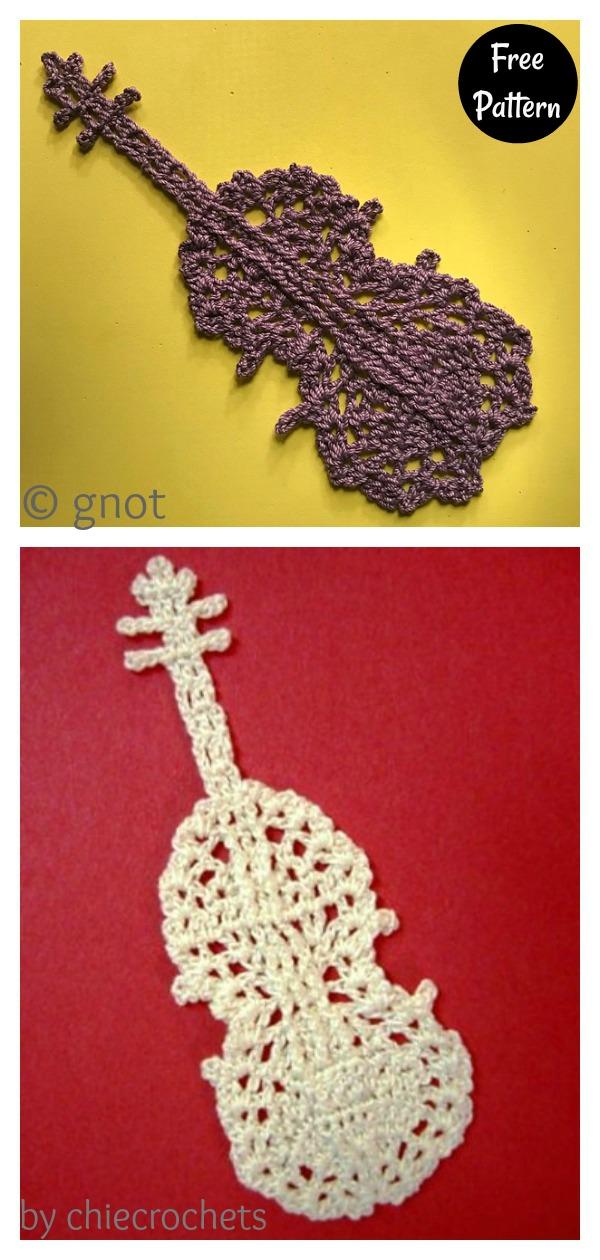 Violin Motif Bookmark Free Crochet Diagram