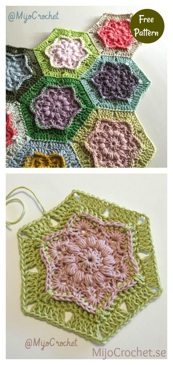Wind Flower Hexagon Blanket Free Crochet Pattern