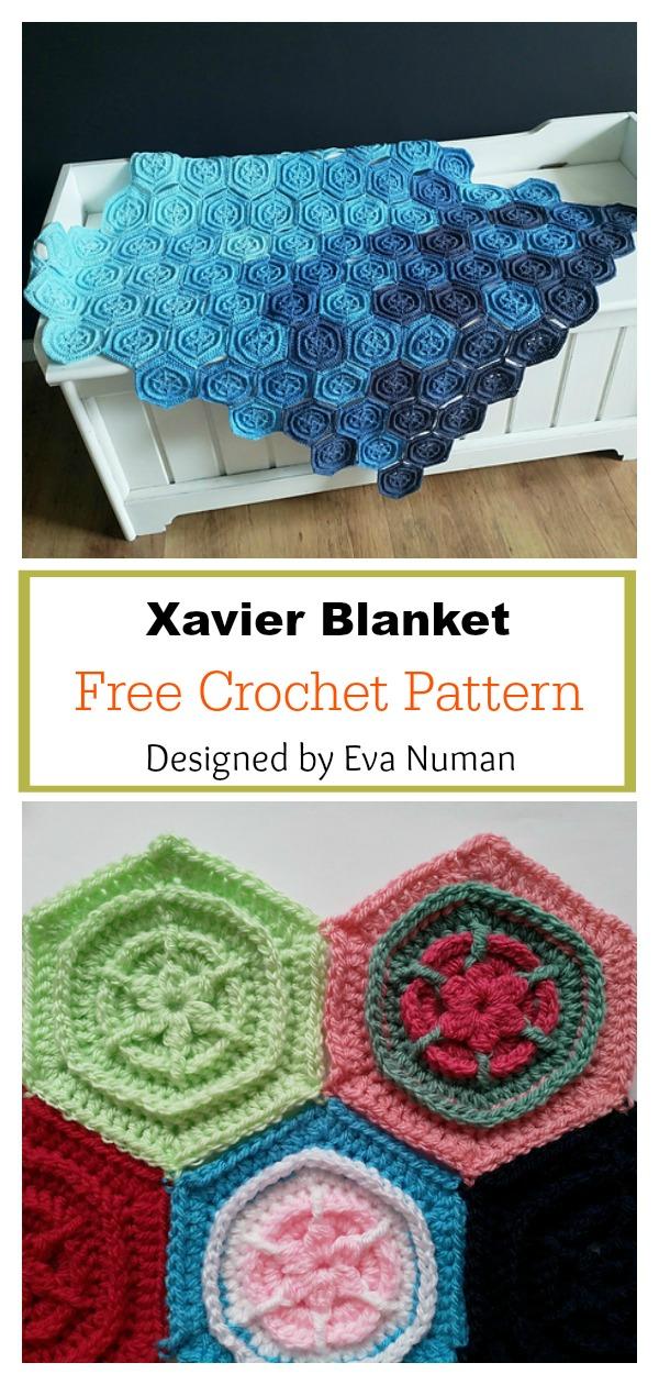 Xavier Flower Hexagon Blanket Free Crochet Pattern
