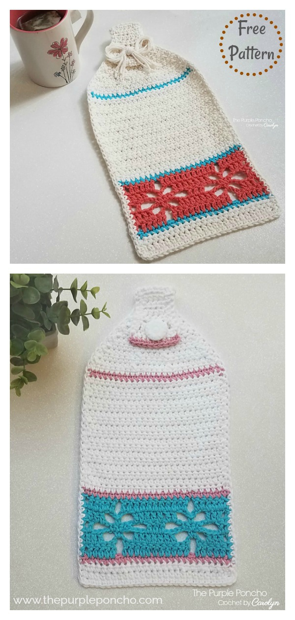 Floral Hand Towel Free Crochet Pattern