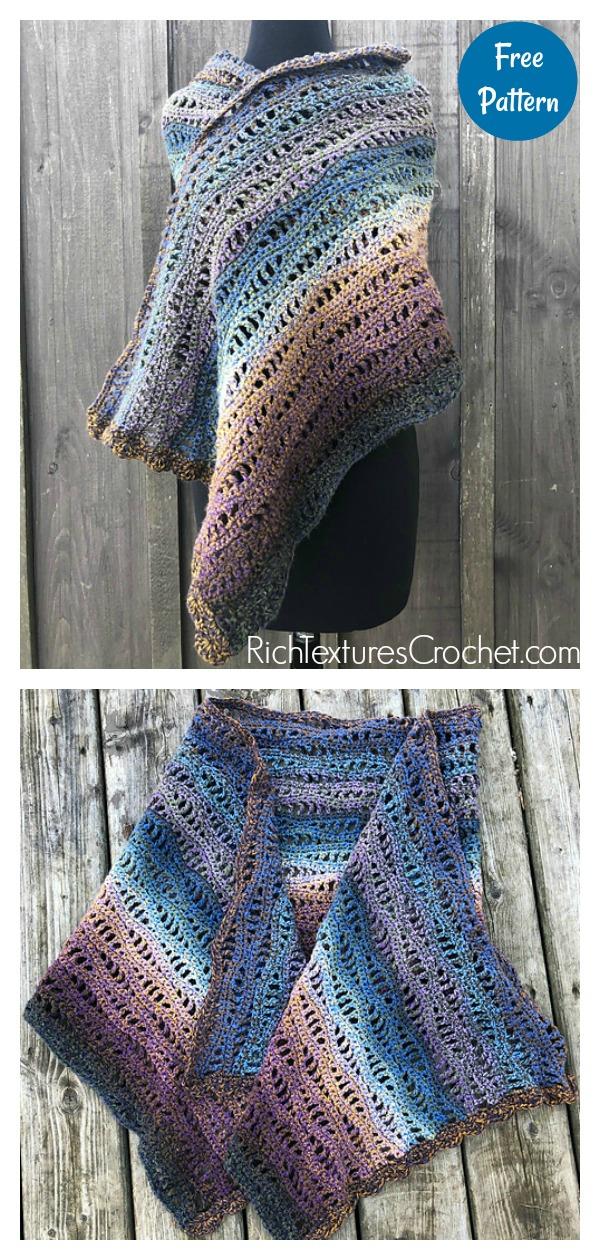 Gorgeous Rivers Shawl Free Crochet Pattern