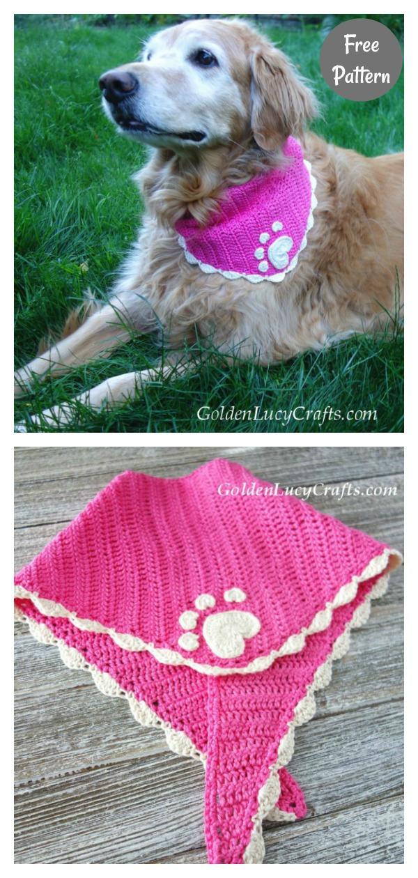 Heart Paw Print Dog Bandana Free Crochet Pattern