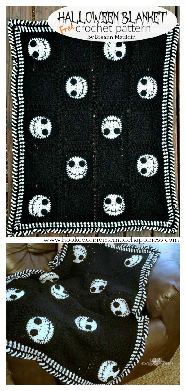 Jack Skellington Halloween Blanket Free Crochet Pattern