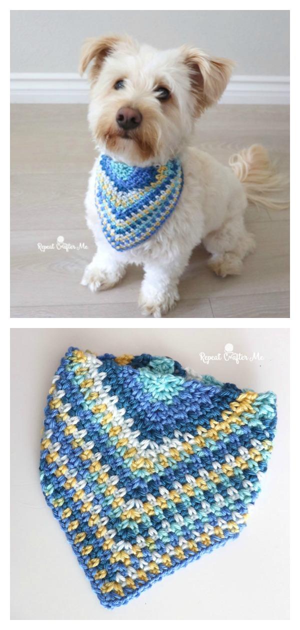 Moss Stitch Dog Bandana Free Crochet Pattern