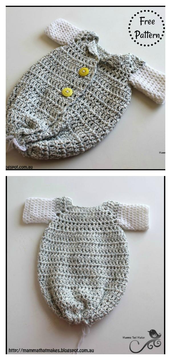 Newborn Sleeper Gown Free Crochet Pattern
