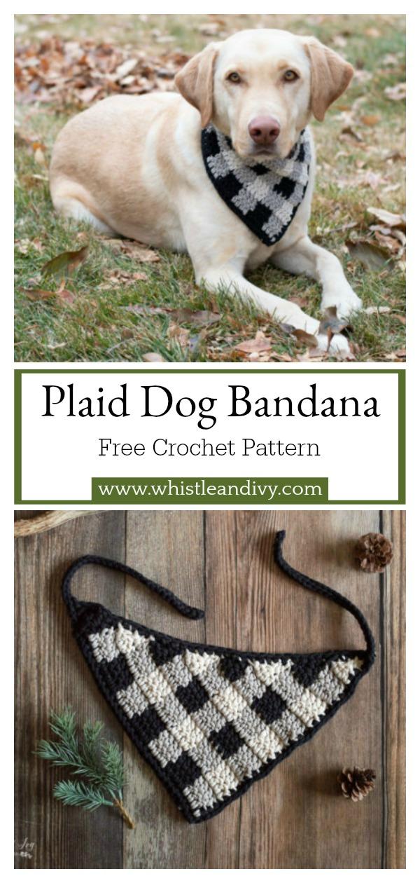 Plaid Dog Bandana Free Crochet Pattern