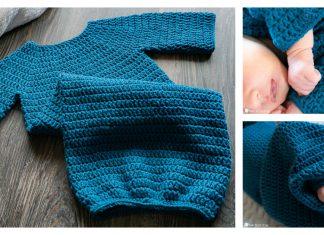 Simple Newborn Sleeper Gown Free Crochet Pattern