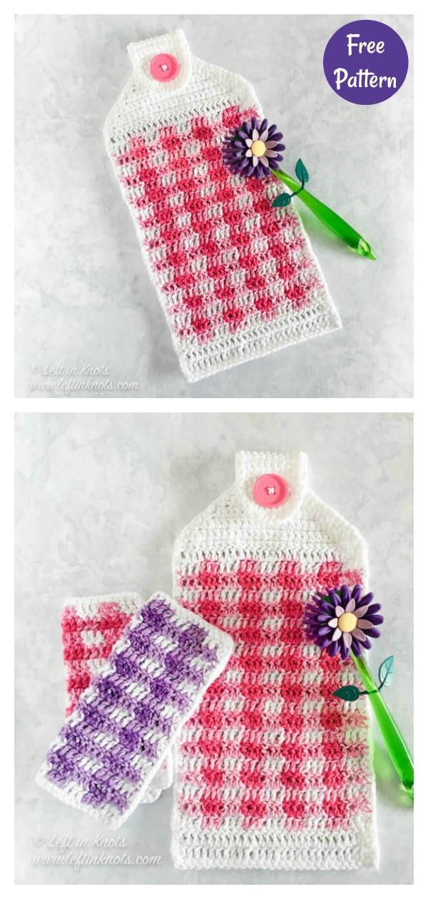 Spring Gingham Hand Towel Free Crochet Pattern