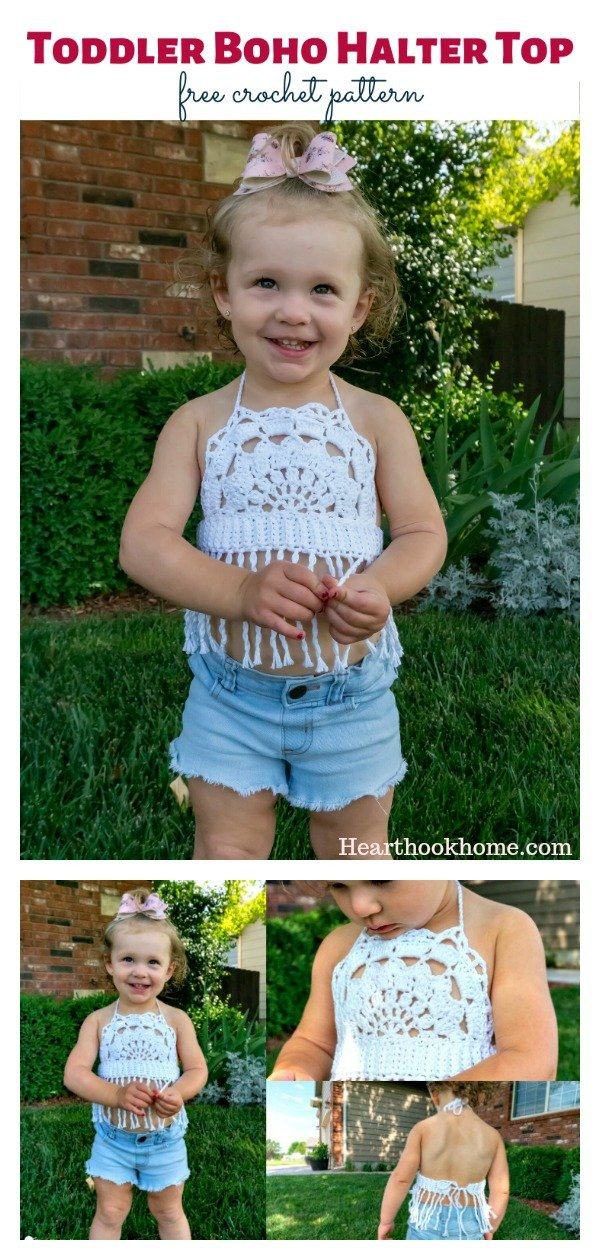 Toddler Boho Halter Top Free Crochet Pattern