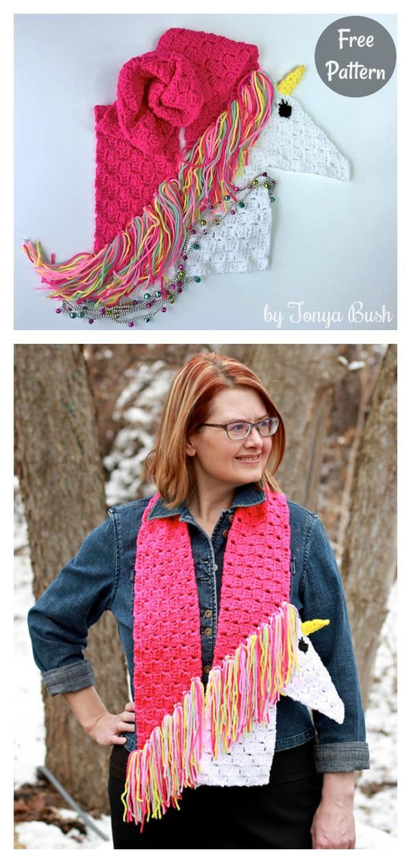 C2C Unicorn Scarf Free Crochet Pattern