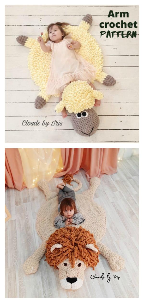 Hand Crochet Baby Animal Rug Crochet Pattern