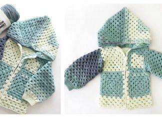 Kids Granny Square Jacket Free Crochet Pattern