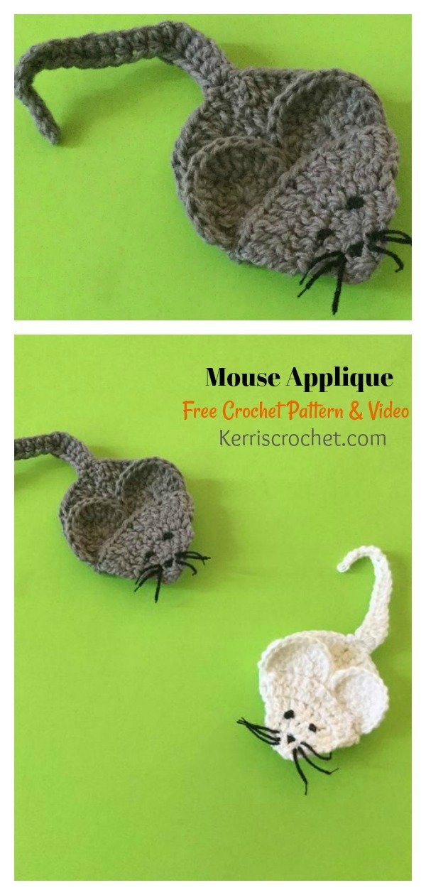 Mouse Applique Free Crochet Pattern and Video Tutorial