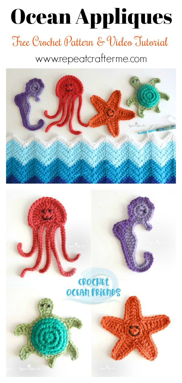 Ocean Starfish Jellyfish Turtle Seahorse Applique Free Crochet Pattern and Video Tutorial