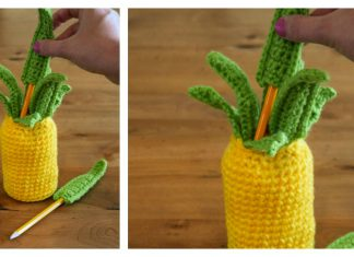 Pineapple Pen Holder Free Crochet Pattern and Video Tutorial