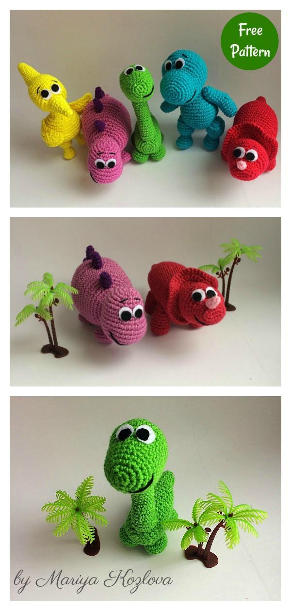 Rainbow Baby Dinosaur Amigurumi Free Crochet Pattern