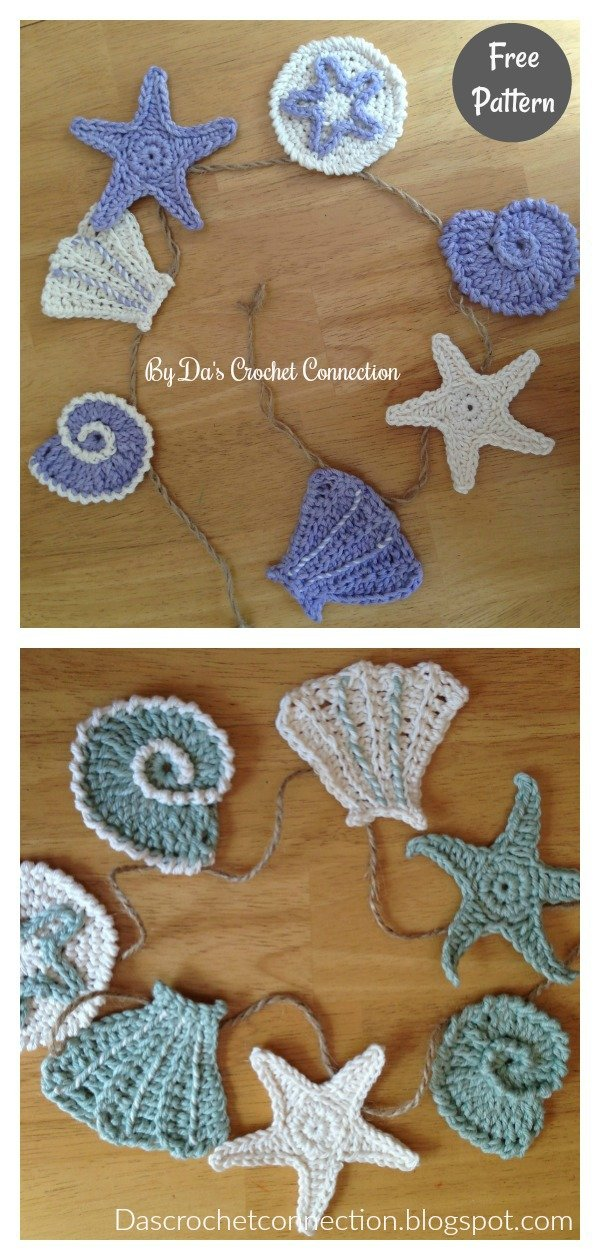 Sea Shell Applique Free Crochet Pattern