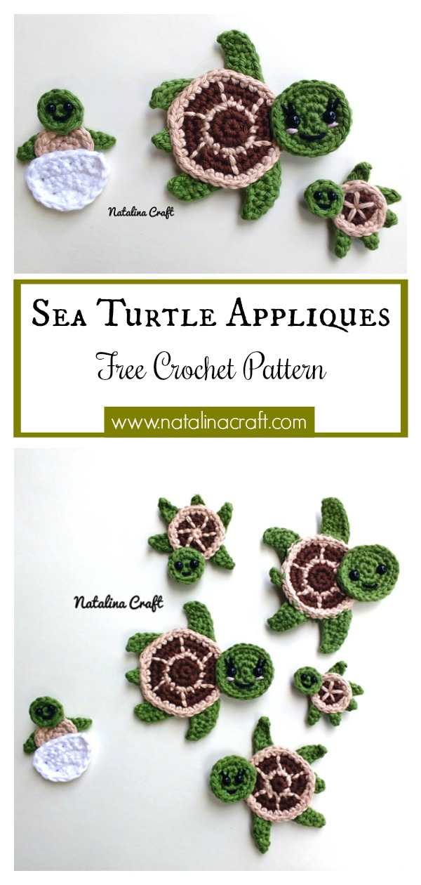 Sea Turtle Applique Free Crochet Pattern