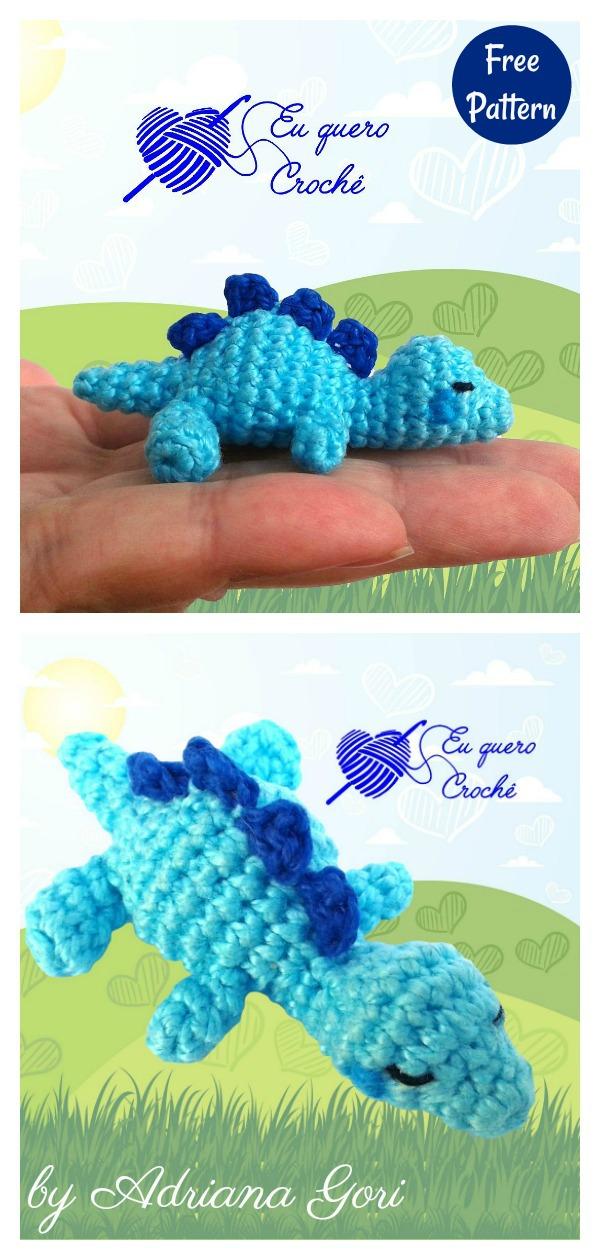 Tiny Sleeping Baby Dino Amigurumi Free Crochet Pattern