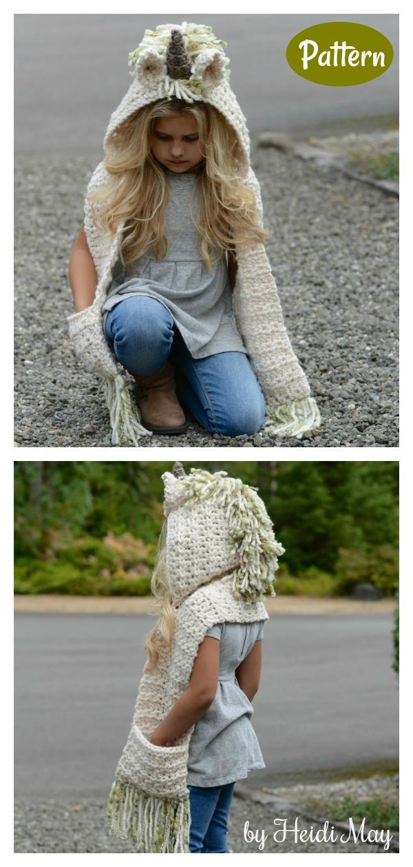 Ulyne Unicorn Hooded Scarf Crochet Pattern