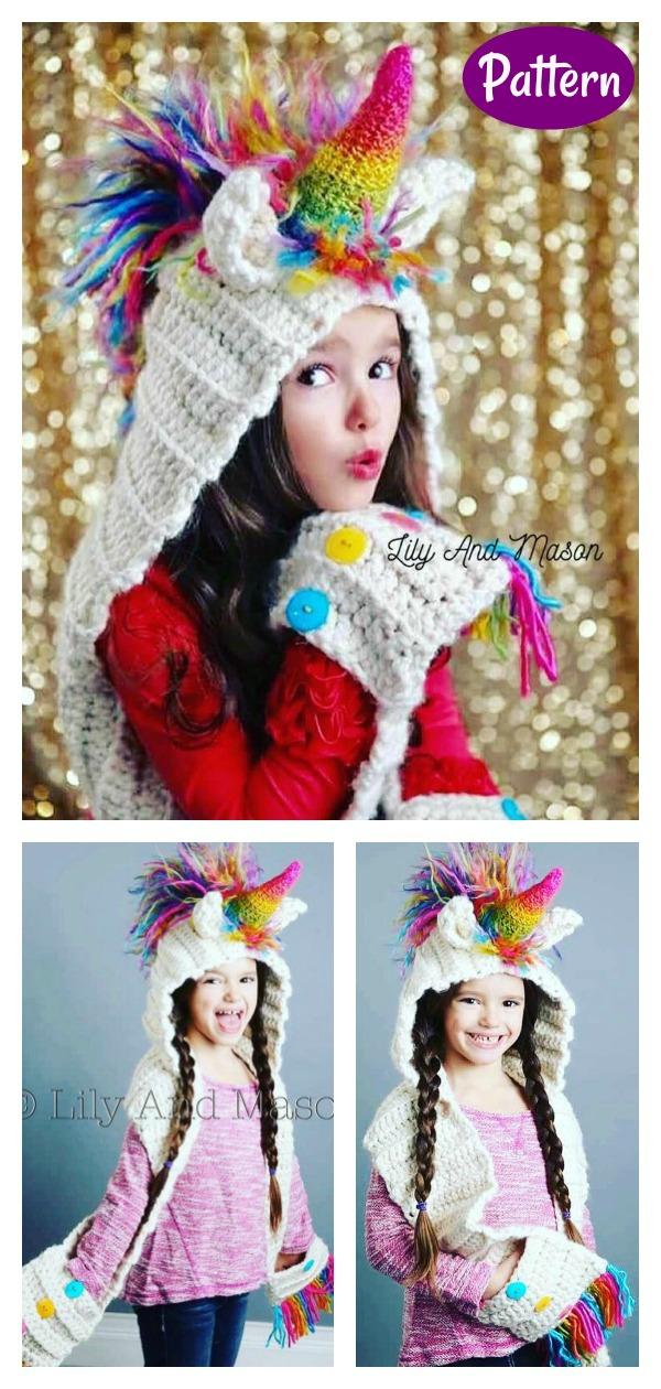 Unicorn Scoodie Hooded Scarf Crochet Pattern